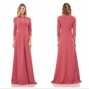 Kay Unger Hannah Rose Pink Keyhole Maxi Gown Dress